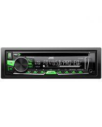 JVC KD-R469EY Auto radio sa CD plejerom i USB/Aux ulazima, jačine 4 x 50W sa skidajućom prednjom maskom i varijabilnom bojam dugmića (zelena-crvena).