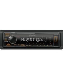 Kenwood KMM-105AY Auto radio snage 4x 45 W sa AUX I USB ulazom (iOS i Android kompatibilan) i  narandžastim osvetljenjem tastera.