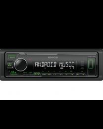 Kenwood KMM-105GY Auto radio snage 4x 45 W sa AUX I USB ulazom (iOS i Android kompatibilan) i zelenim osvetljenjem tastera.