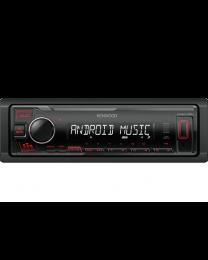 Kenwood KMM-105RY Auto radio snage 4x 45 W sa AUX I USB ulazom (iOS i Android kompatibilan) i crvenim osvetljenjem tastera.