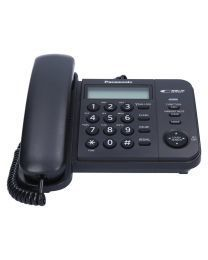 Panasonic KX-TS560FXB Žični telefon sa 2-rednim LCD displej i prikazom do 50 brojeva,  imenikom od 50 brojeva, lampicom za indikaciju dolaznih poziva itd.