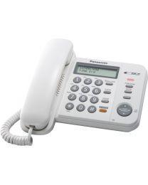 Panasonic KX-TS580FXW Žični telefon sa 2-rednim LCD displej mogućnošću prikaza do 50 brojeva, imenikom, lampicom za indikaciju dolaznih poziva itd.