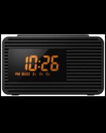 Panasonic RC-800EG-K Radio budilnik sa LCD displejem narandžaste boje, opcijom podešavanja dva alarama, opcijom odlaganja alarama i zcučnikom snage 1W RMS.
