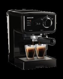 Sencor SES 1710BK Espresso aparat sa pumpom kapaciteta 15 bara, filterom od nerđajućeg čelika i metalnom pločom za grejanje šoljica.
